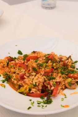 Risotto with peppers and courgette